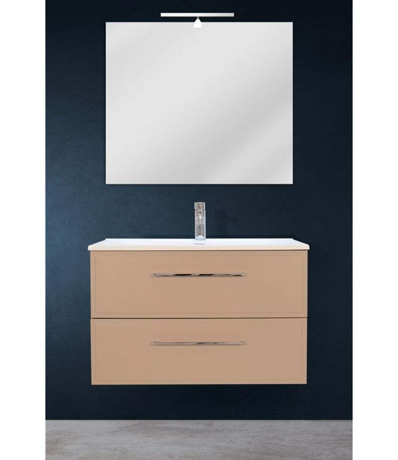 Mobile bagno sospeso 80 cm Tortora Opaco con due cassetti, specchio, LED e lavabo