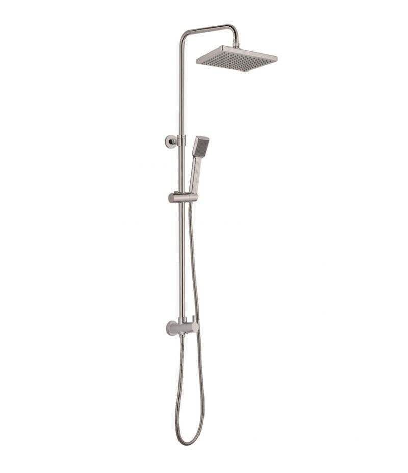 Colonna doccia con soffione quadrato 20x20 cm saliscendi e doccino