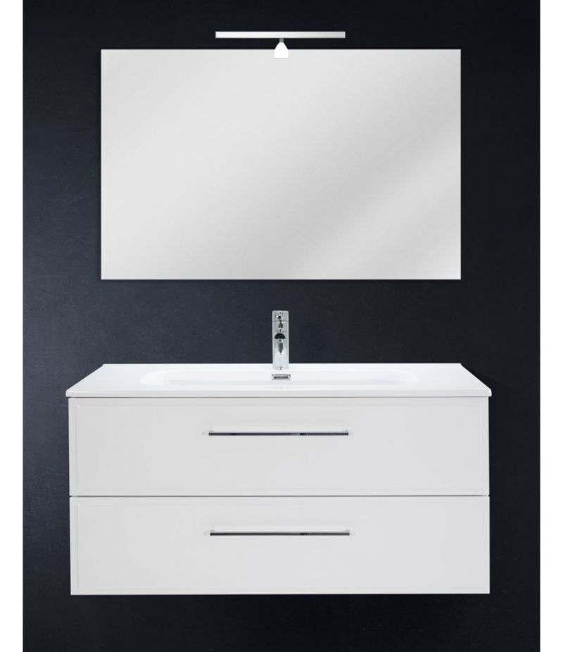 Mobile bagno sospeso 100 cm Bianco con due cassetti, specchio, LED e lavabo
