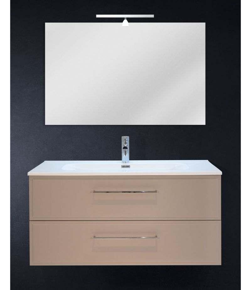 Mobile bagno sospeso 100 cm Tortora Opaco con due cassetti, specchio, LED e lavabo