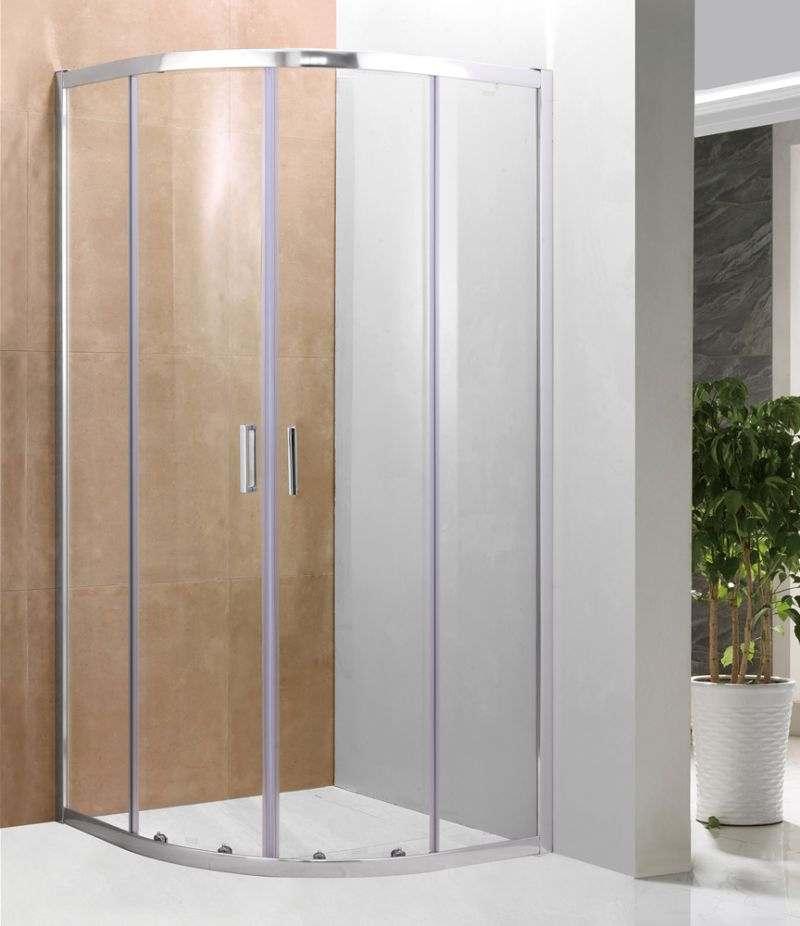 Box doccia 90x90 cm semicircolare in cristallo trasparente 6 mm profili alluminio cromato