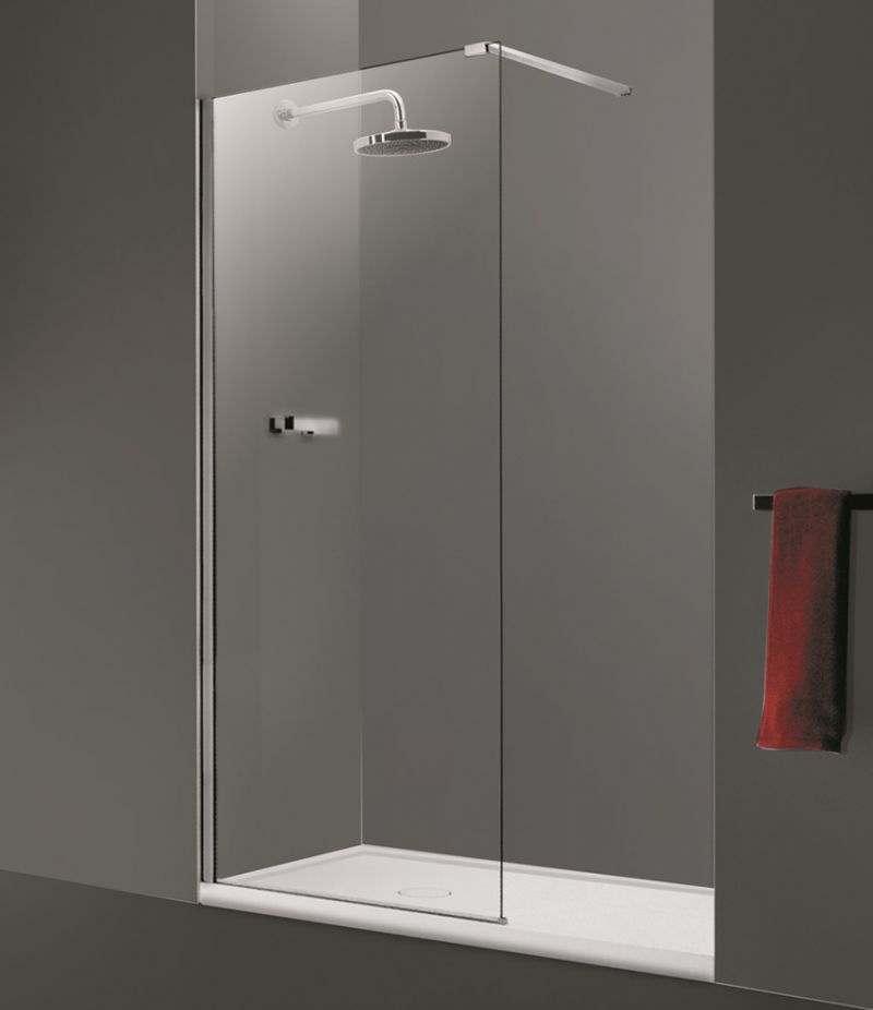 Parete doccia Walk-in 130 cm in cristallo trasparente anticalcare 10 mm profili alluminio cromato