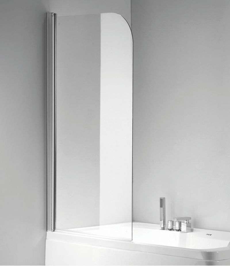 Parete doccia sopravasca 80 cm girevole in cristallo trasparente 6 mm profilo alluminio cromato