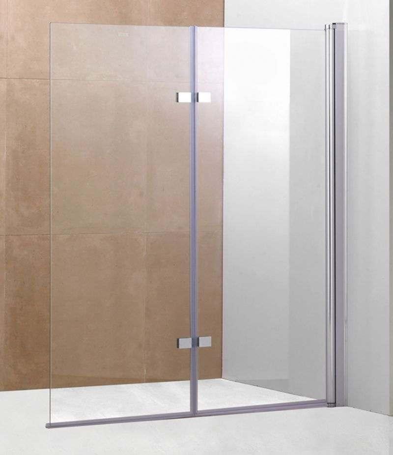 Parete doccia sopravasca 120 cm pieghevole in cristallo trasparente 6 mm profilo alluminio cromato