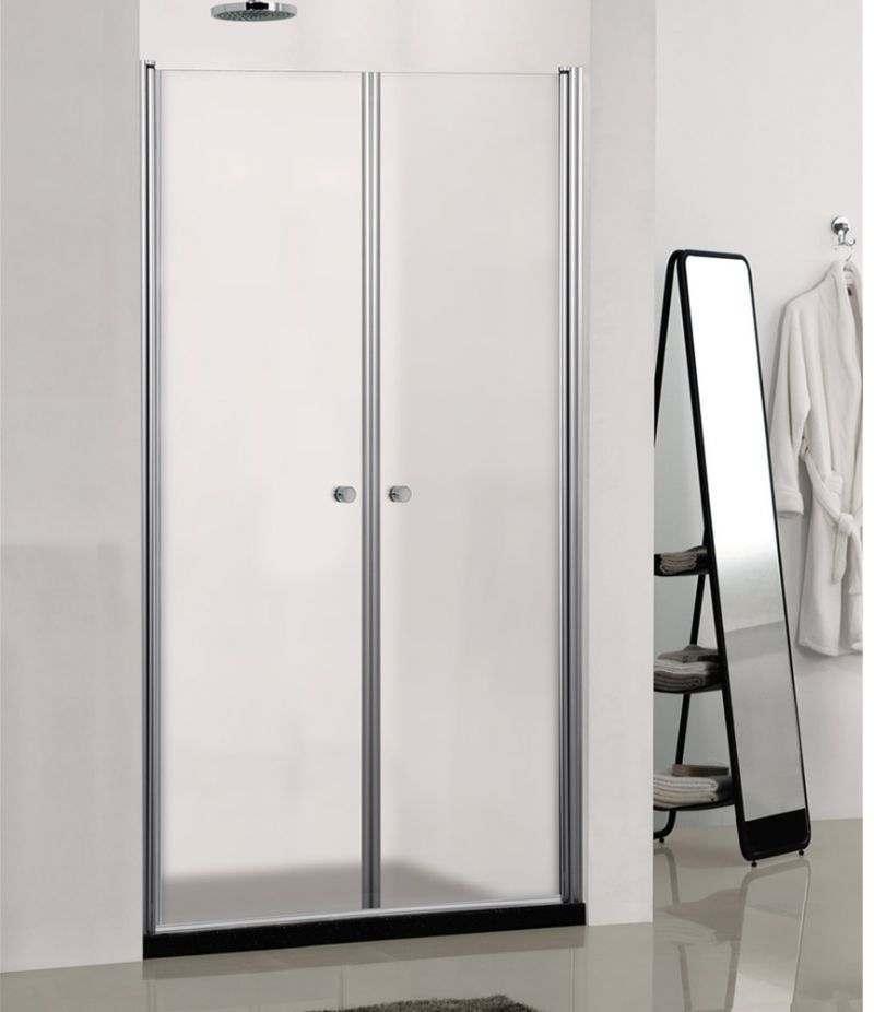 Box doccia Saloon 80 cm in cristallo opaco 6 mm profili alluminio cromato