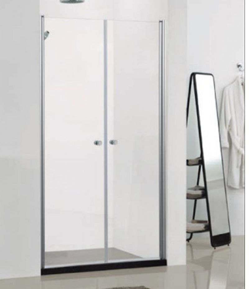 Box doccia Saloon 90 cm in cristallo trasparente 6 mm profili alluminio cromato