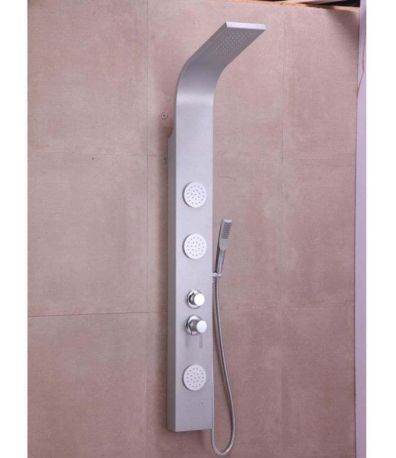 Pannello doccia idromassaggio 3 getti in alluminio silver