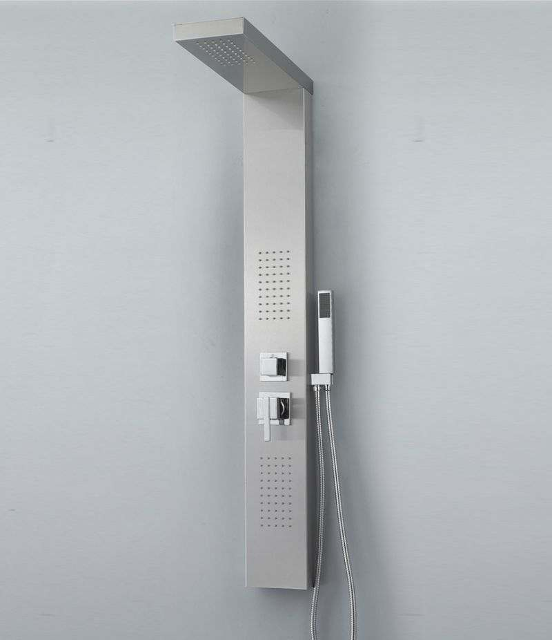 Pannello doccia idromassaggio 2 getti in acciaio INOX cromato