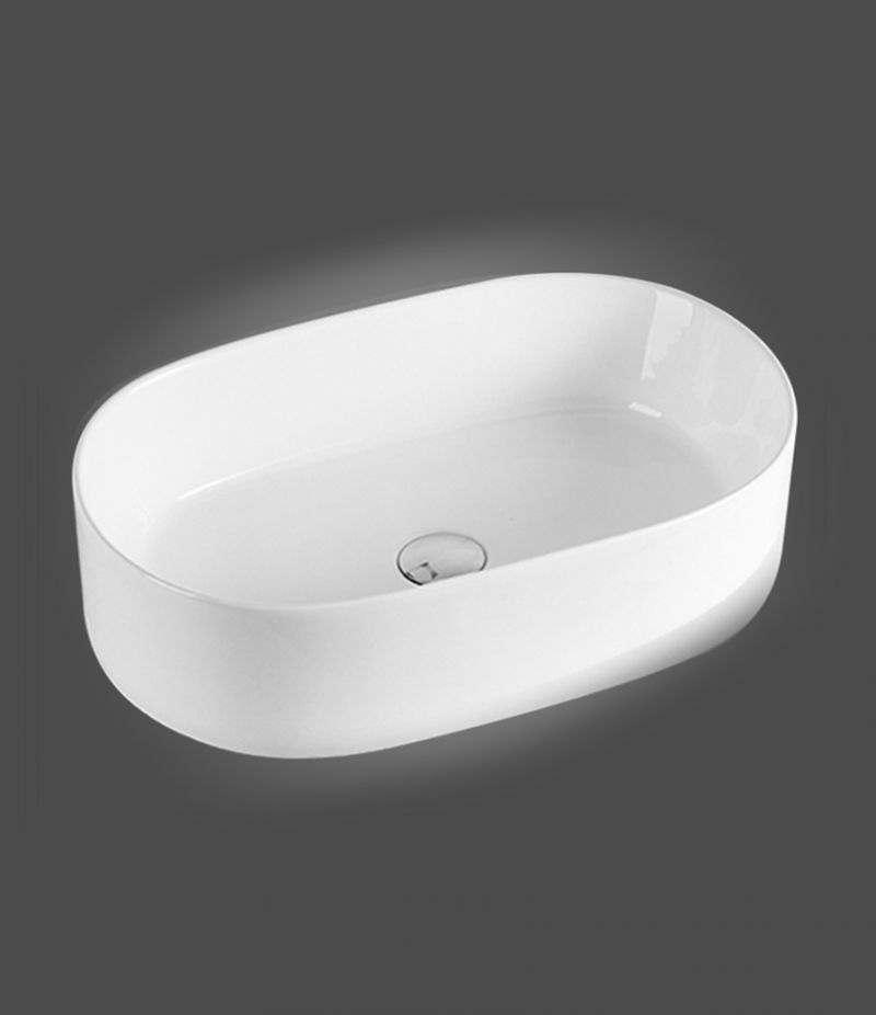 Lavabo da appoggio ovale 56,5x36,5 cm in ceramica bianco opaco