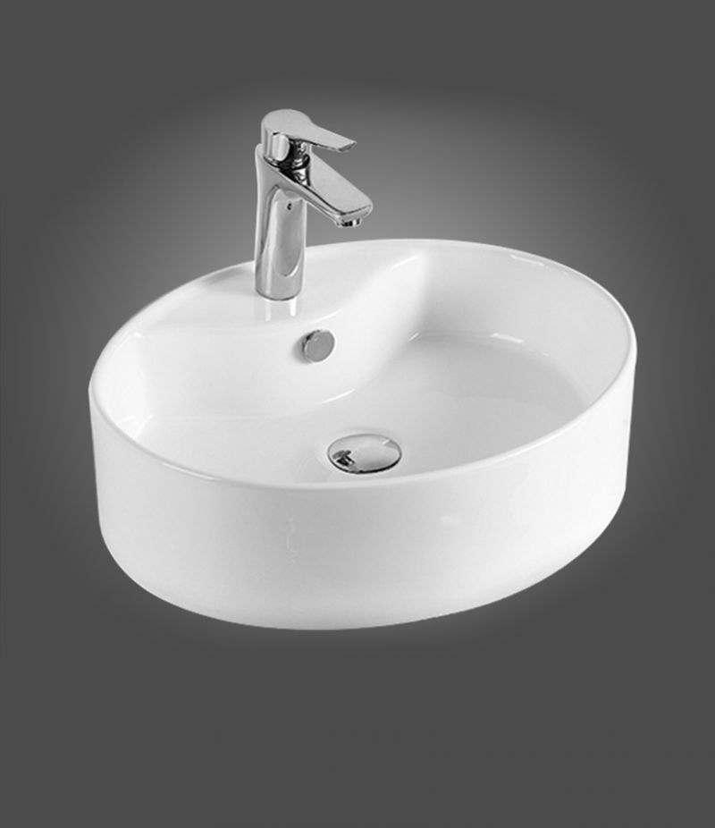 Lavabo da appoggio ovale 51x42 cm in ceramica bianco lucido