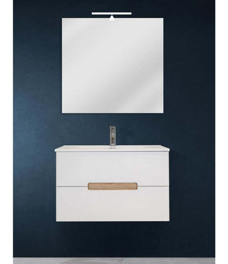 Mobile bagno sospeso 80 cm Bianco lucido con specchio, lavabo e LED