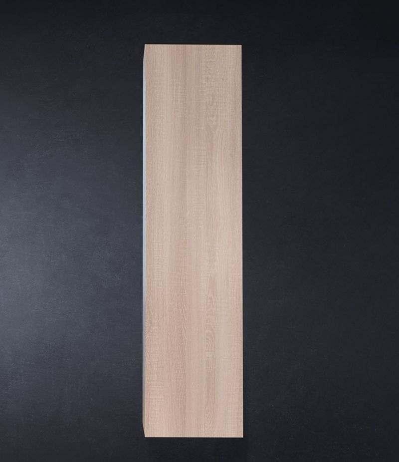 Pensile bagno colonna sospesa 35 cm Rovere Sbiancato con ripiani e anta