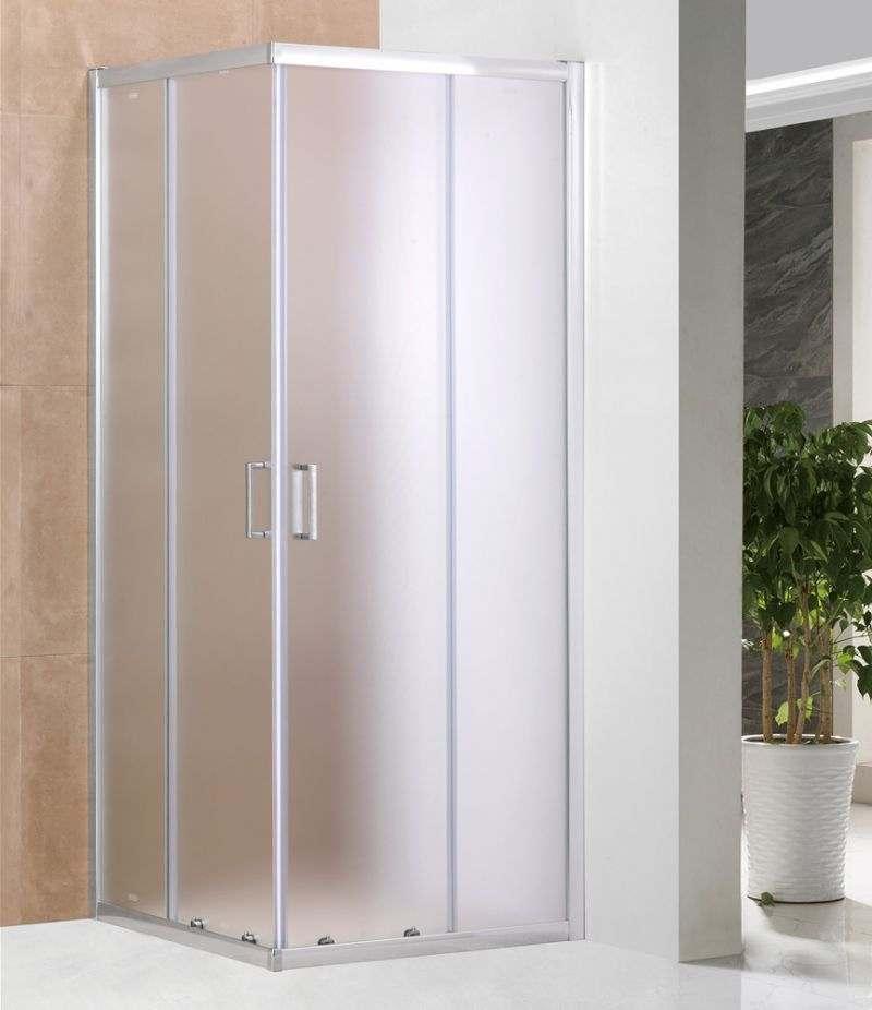 Box doccia 80x80 cm scorrevole in cristallo stampato 6 mm profili alluminio cromato
