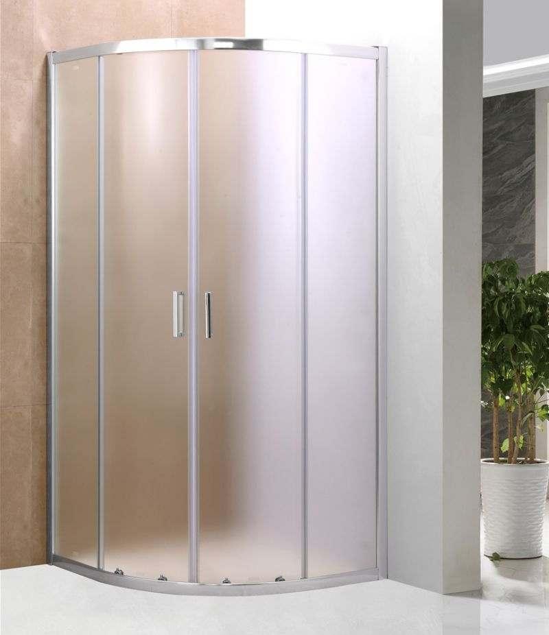 Box doccia 75x75 cm semicircolare in cristallo stampato 6 mm profili alluminio cromato
