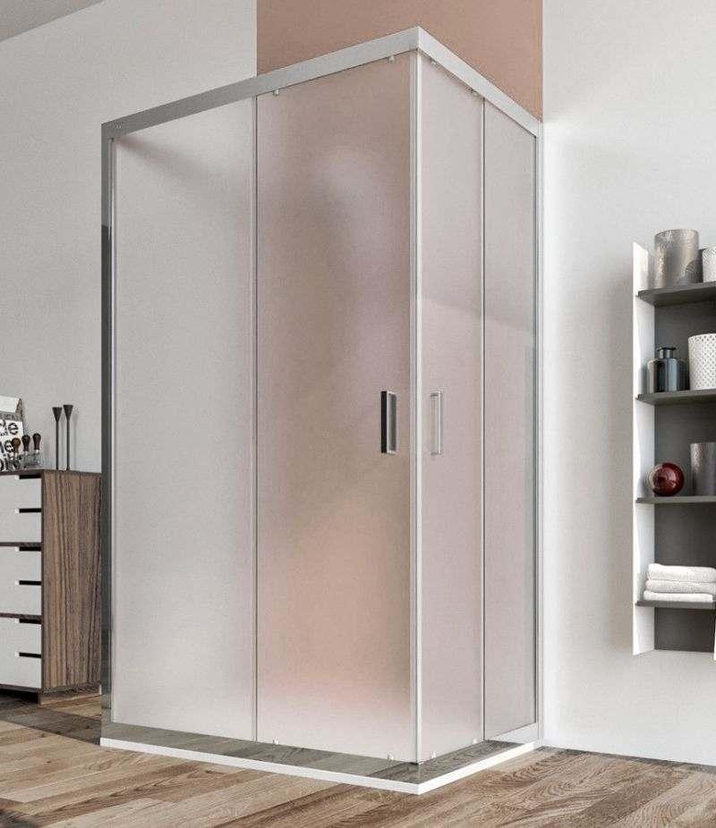 Box doccia 3 lati 70x100x70 cm scorrevole in cristallo stampato 6 mm profili alluminio cromato