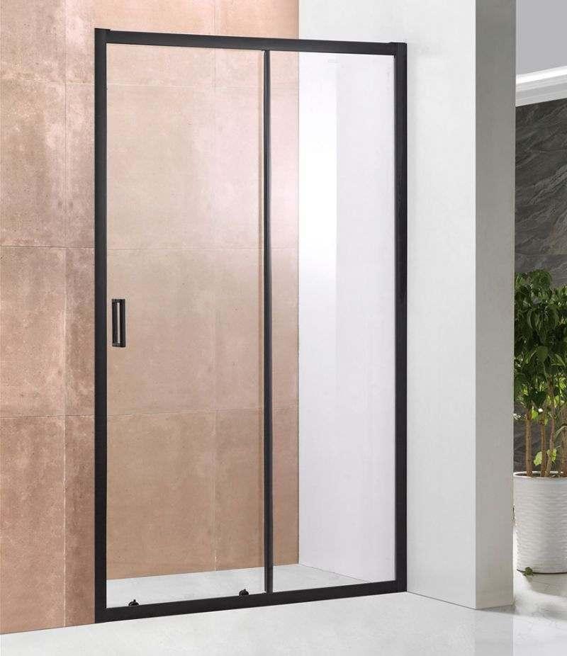 Nicchia doccia porta 100 cm scorrevole in cristallo trasparente 6 mm profili alluminio nero