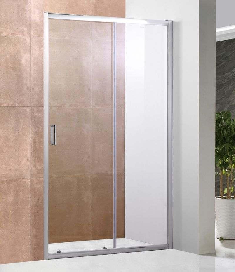 Nicchia doccia porta 140 cm scorrevole in cristallo trasparente 6 mm profili alluminio cromato
