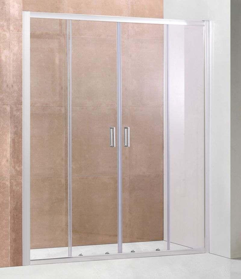 Nicchia doccia porta 160 cm scorrevole in cristallo trasparente 6 mm profili alluminio cromato
