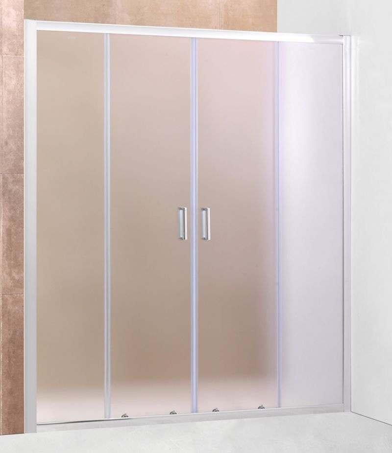 Nicchia doccia porta 170 cm scorrevole in cristallo stampato 6 mm profili alluminio cromato
