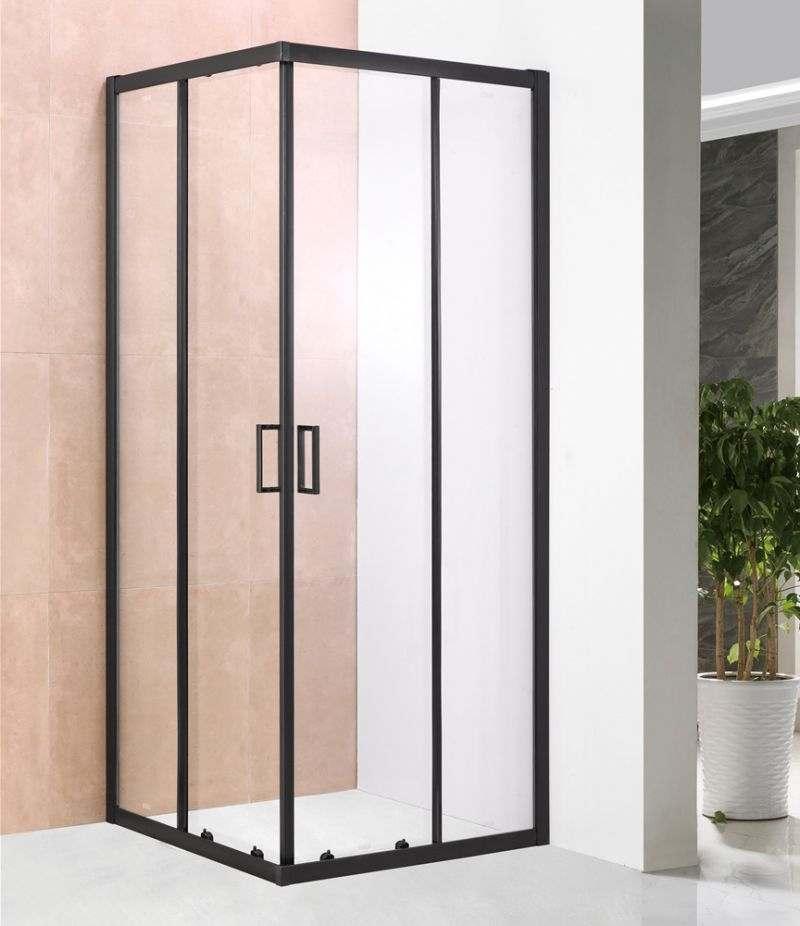 Box doccia 70x90 cm scorrevole in cristallo trasparente 6 mm profili alluminio nero