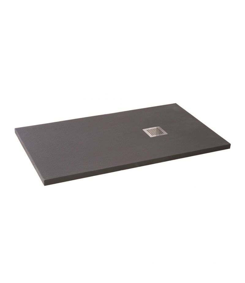 Piatto doccia 70x100 cm H.3,5 cm grigio in resina effetto pietra riducibile