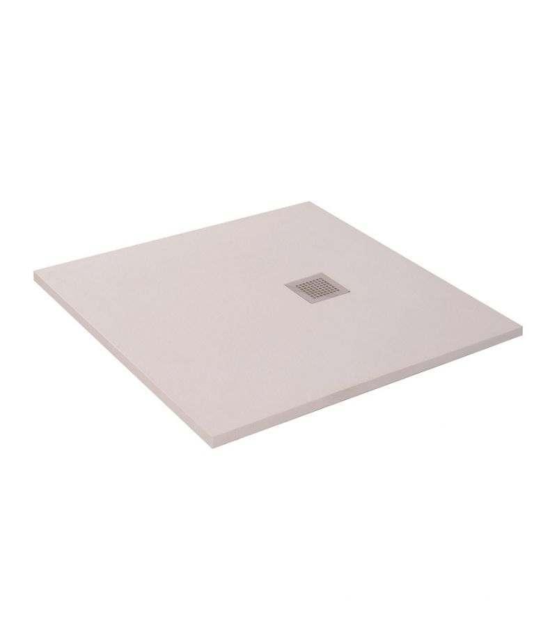 Piatto doccia 90x90 cm H.3,5 cm bianco in resina effetto pietra riducibile