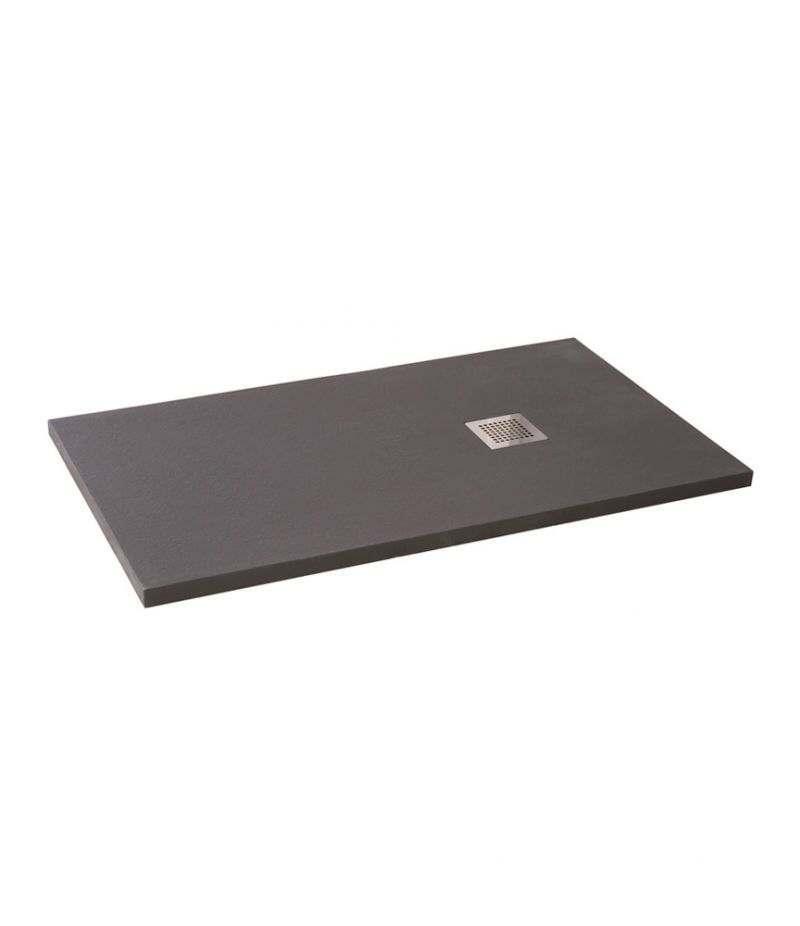 Piatto doccia 90x100 cm H.3,5 cm grigio in resina effetto pietra riducibile