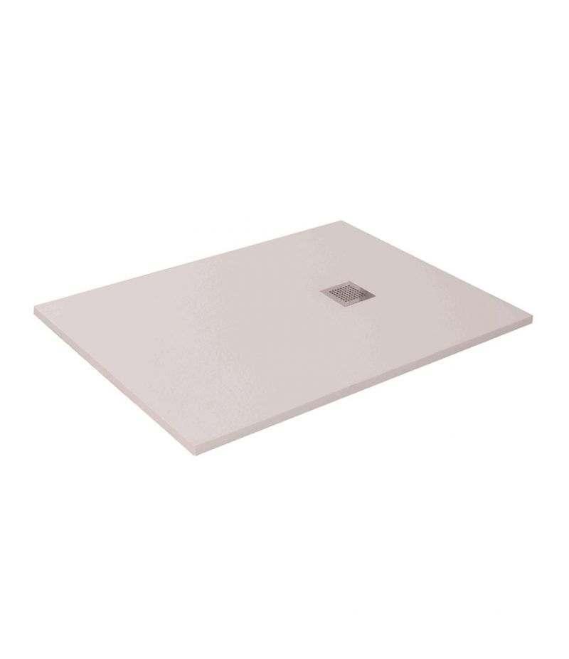 Piatto doccia 90x160 cm H.3,5 cm bianco in resina effetto pietra riducibile