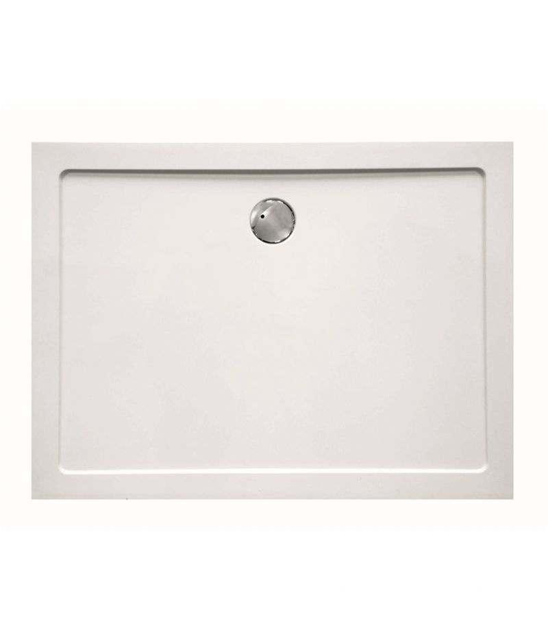 Piatto doccia rettangolare 80x100 cm H.3,5 cm in vetroresina bianco