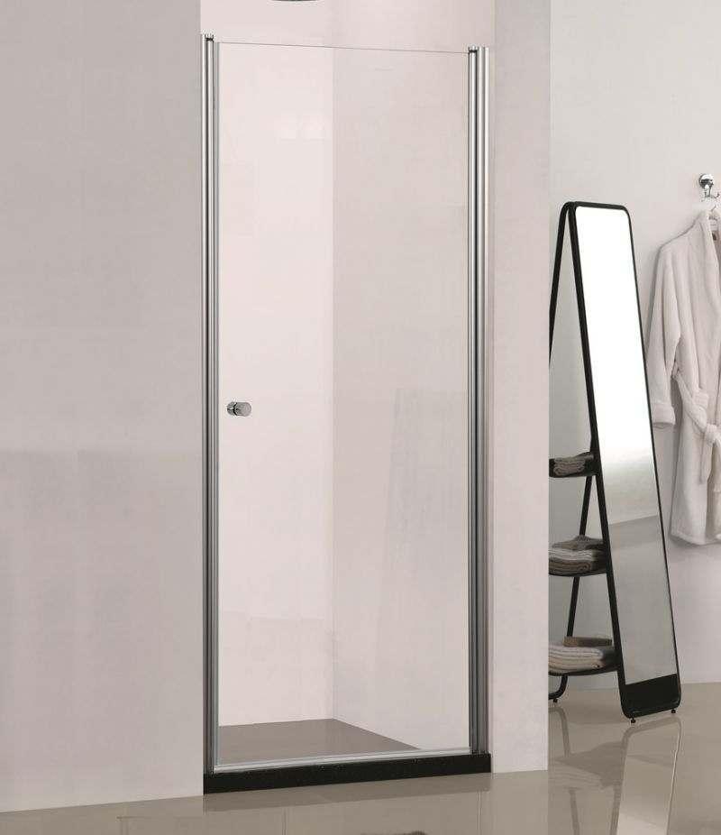 Nicchia porta doccia 80 cm battente in cristallo trasparente 6 mm profili alluminio cromato