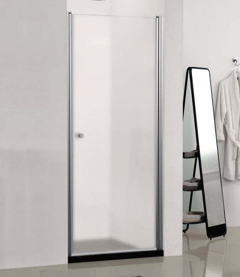 Nicchia porta doccia 80 cm battente in cristallo opaco 6 mm profili alluminio cromato