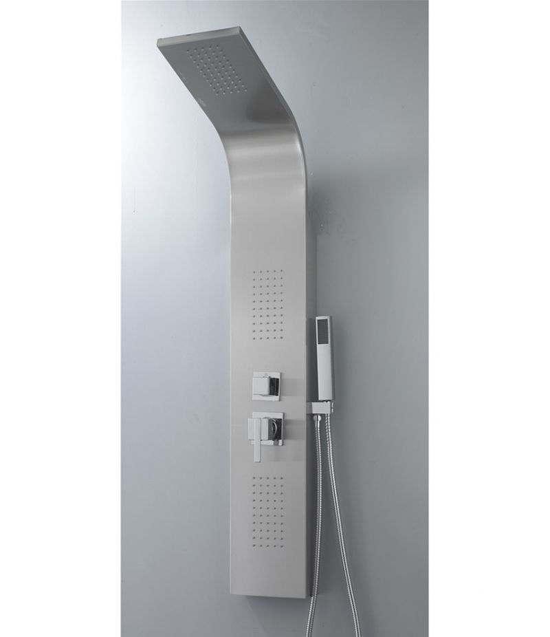 Pannello doccia 2 getti idromassaggio in acciaio INOX cromato
