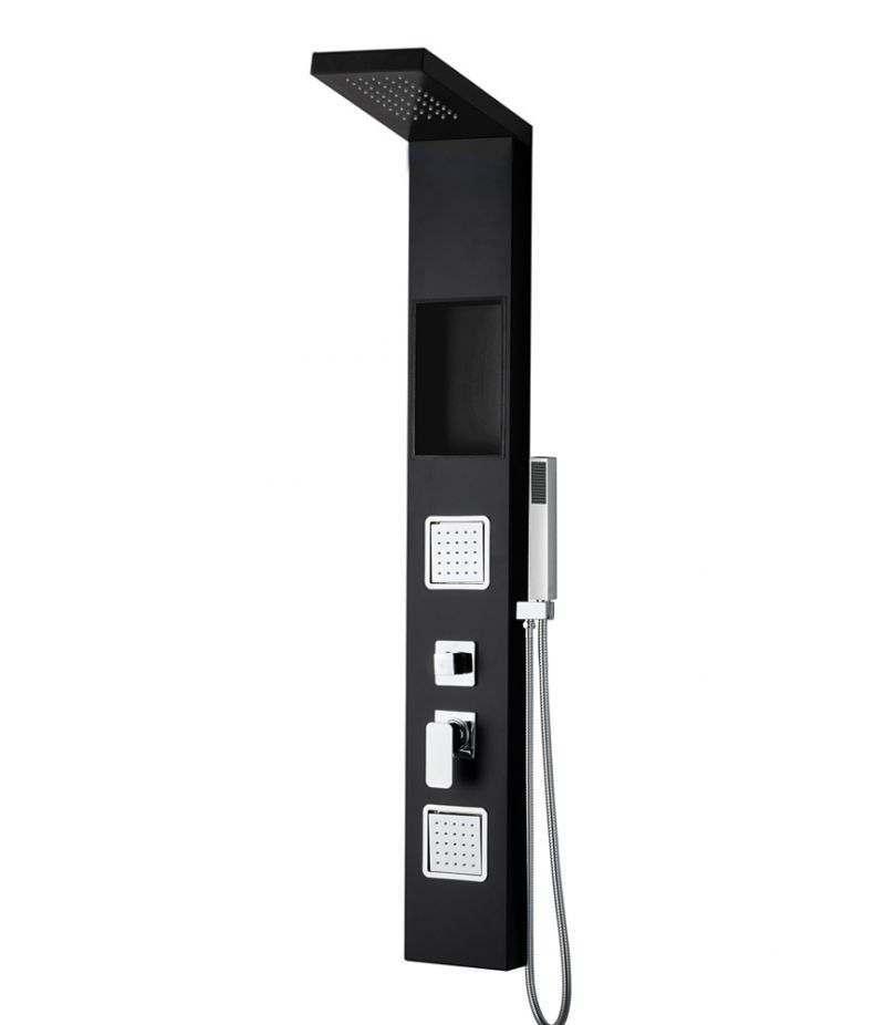 Pannello doccia 2 getti idromassaggio in alluminio nero