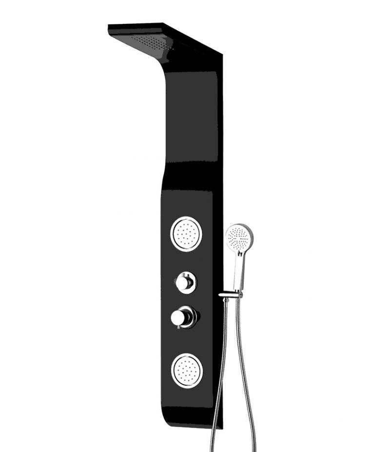 Pannello doccia idromassaggio 2 getti in PVC nero