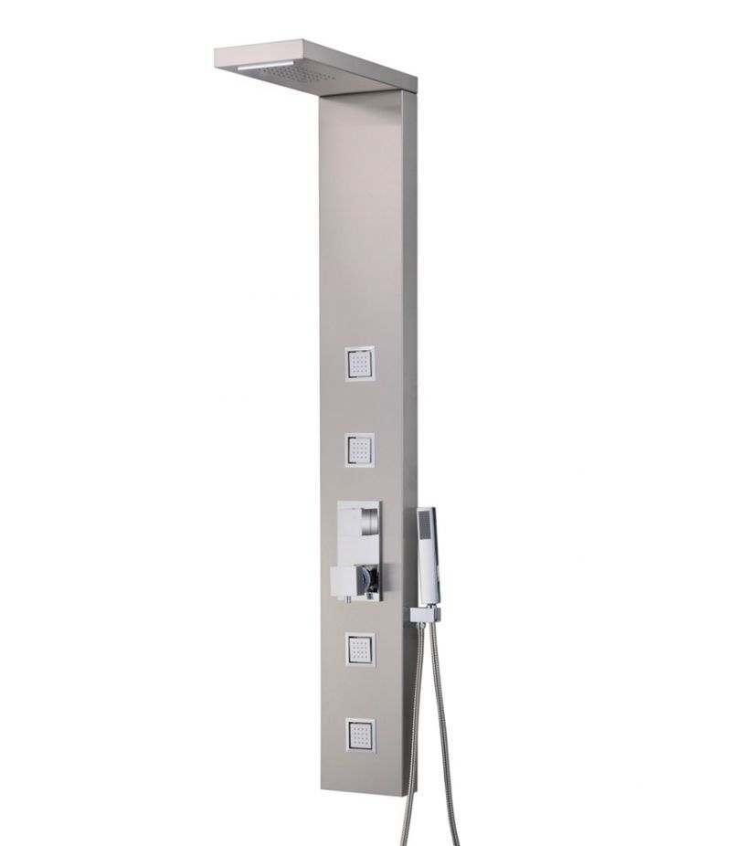 Pannello doccia 4 getti idromassaggio in acciaio INOX cromato