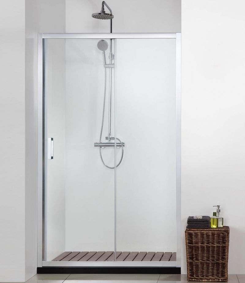 Nicchia doccia porta 140 cm scorrevole cristallo trasparente anticalcare 6 mm profili cromo