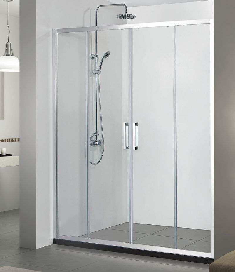 Nicchia doccia porta 180 cm scorrevole cristallo trasparente anticalcare 6 mm profili cromo