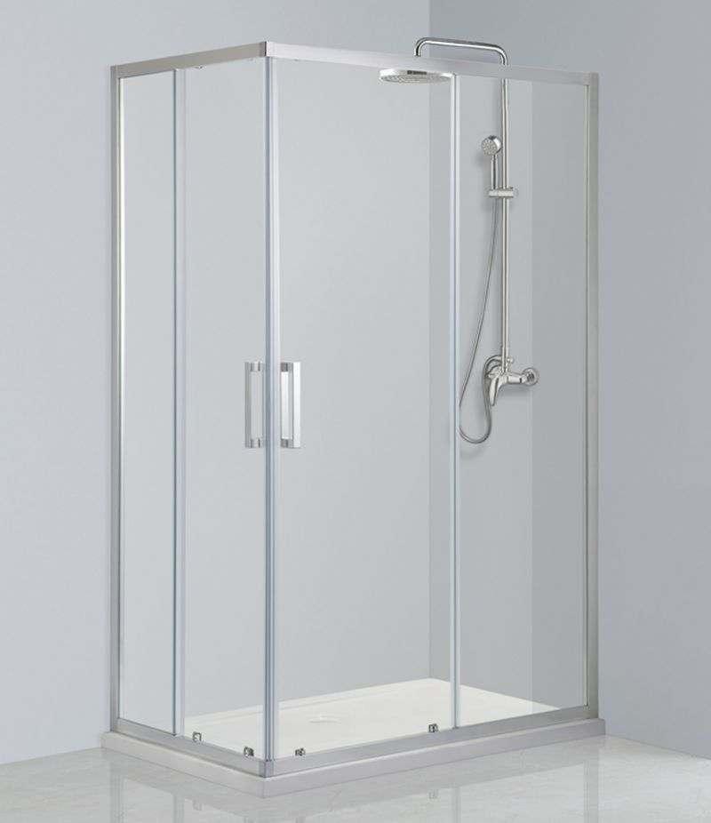 Box doccia 80x100 cm scorrevole in cristallo trasparente anticalcare 6 mm profili cromo