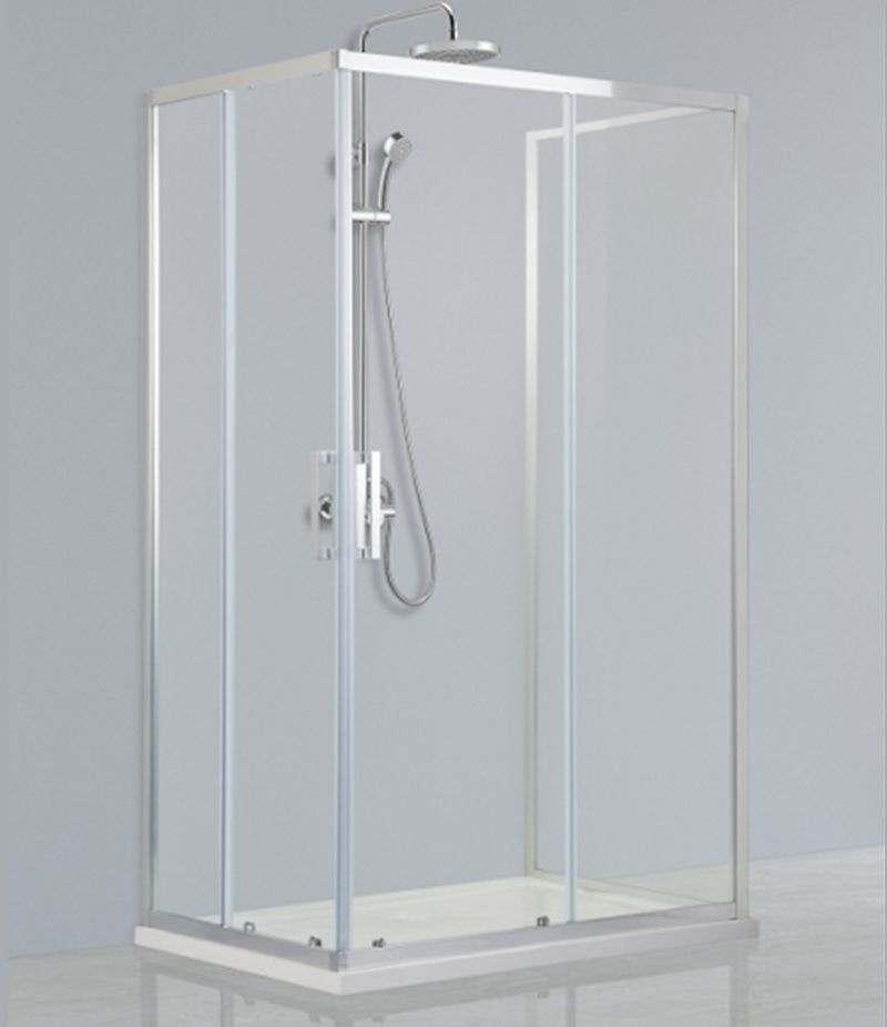 Box doccia 3 lati 80x100x80 cm scorrevole in cristallo trasparente anticalcare 6 mm profili cromo