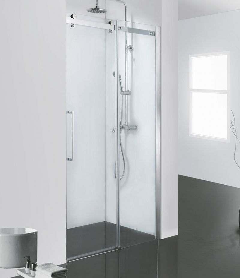 Nicchia doccia porta 140 cm scorrevole cristallo trasparente anticalcare 8 mm profili cromo