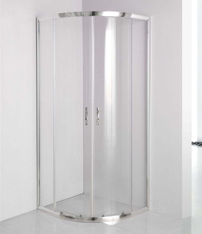 Box doccia 70x90 cm semicircolare in cristallo trasparente 4 mm profili alluminio cromato