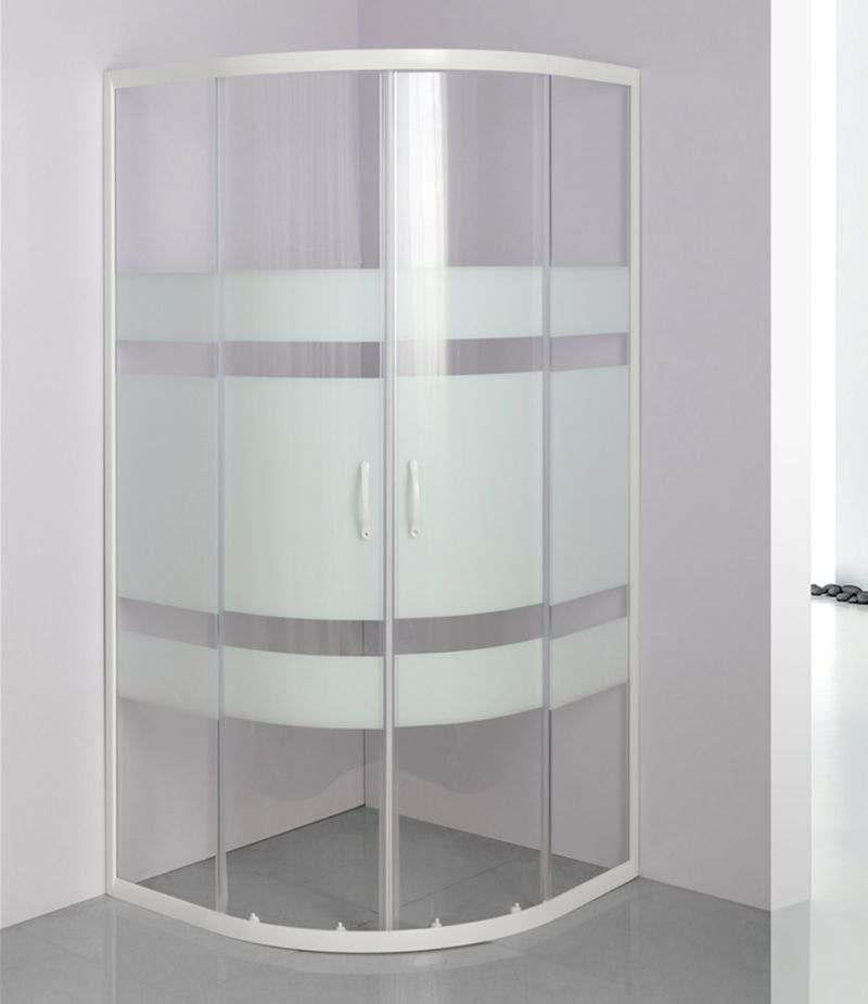 Box doccia 70x90 cm semicircolare in cristallo serigrafato 4 mm profili bianchi
