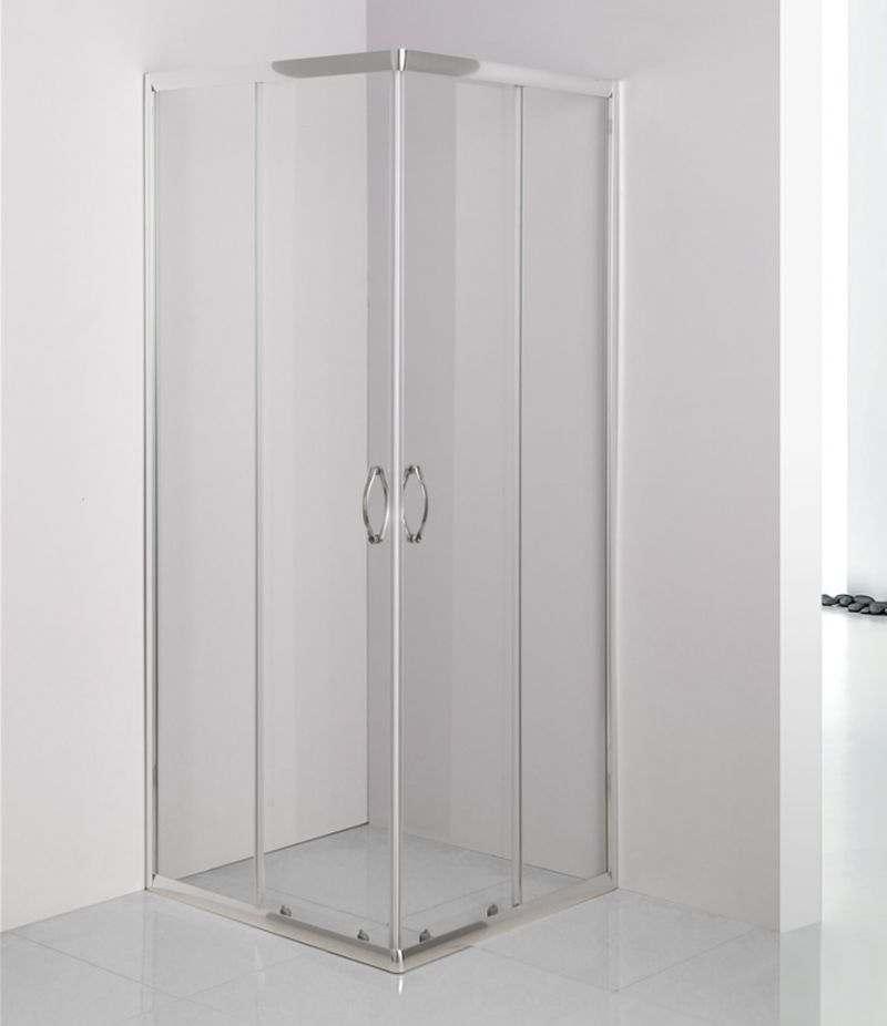 Box doccia 80x80 cm scorrevole in cristallo trasparente 4 mm profili alluminio cromato