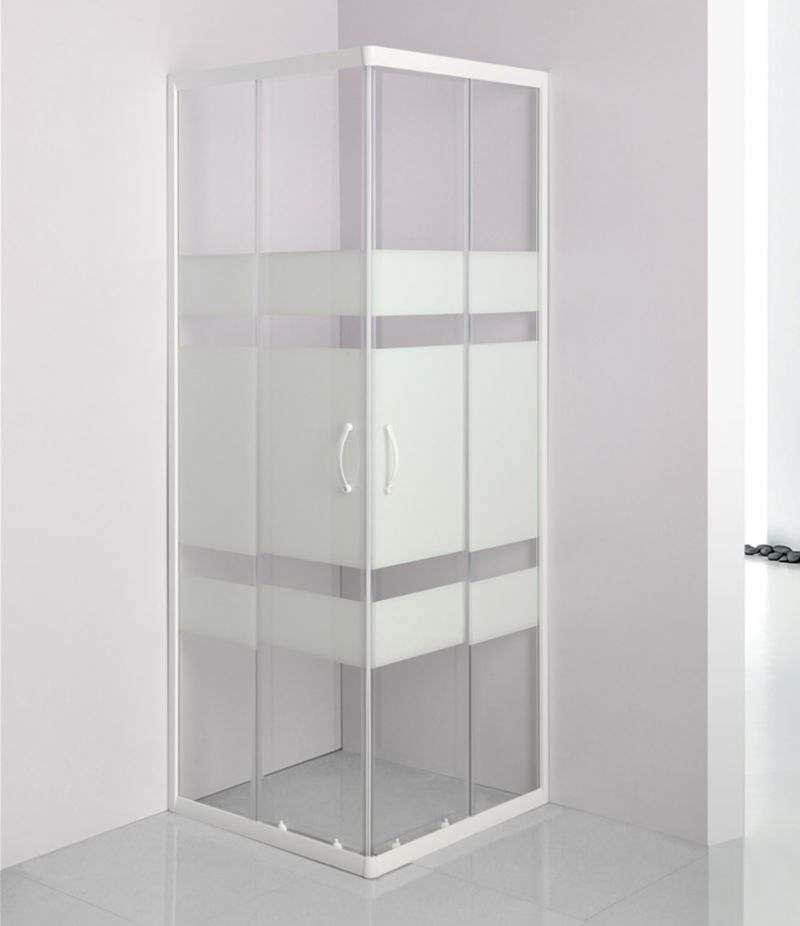 Box doccia 80x80 cm scorrevole in cristallo serigrafato 4 mm profili bianchi