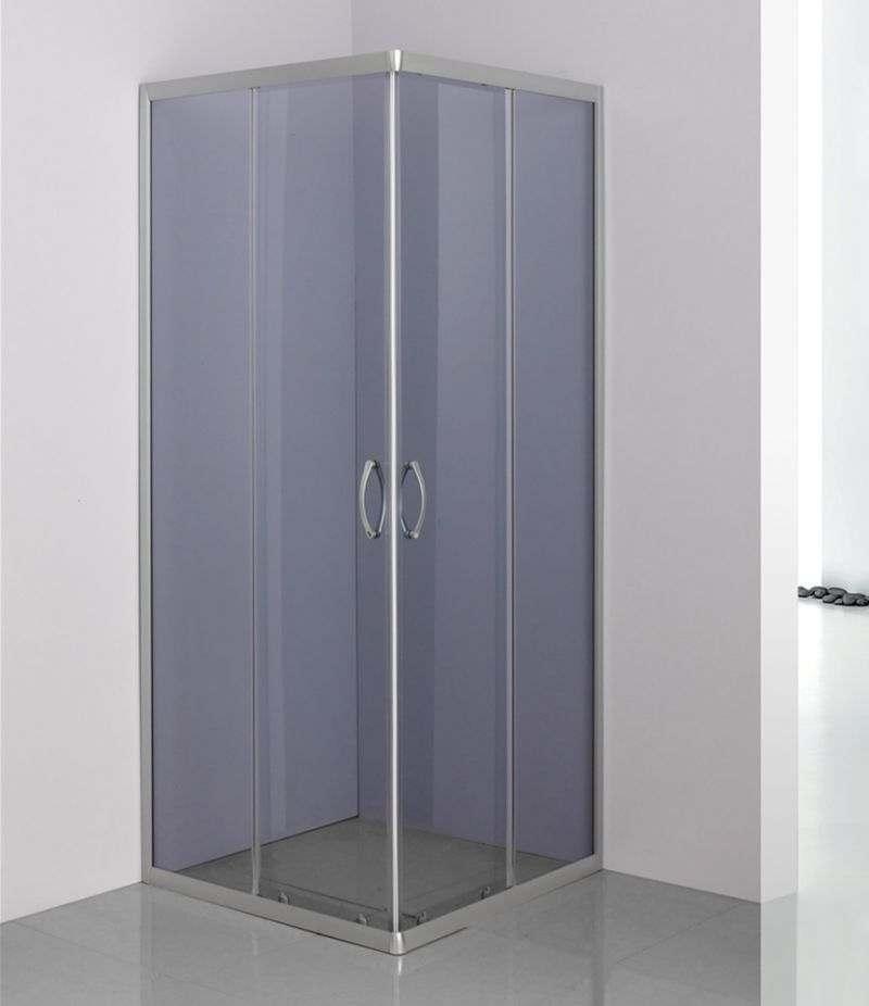 Box doccia 80x80 cm scorrevole in cristallo fumè 4 mm profili alluminio satinato