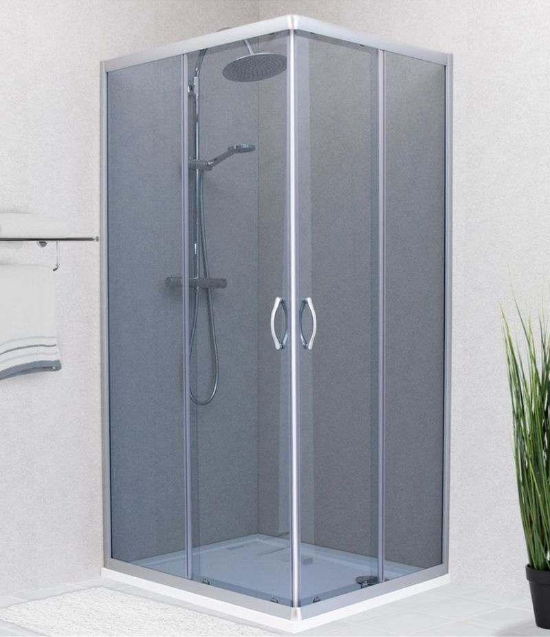 Box doccia 80x100 cm scorrevole in cristallo fumè 4 mm profili alluminio satinato