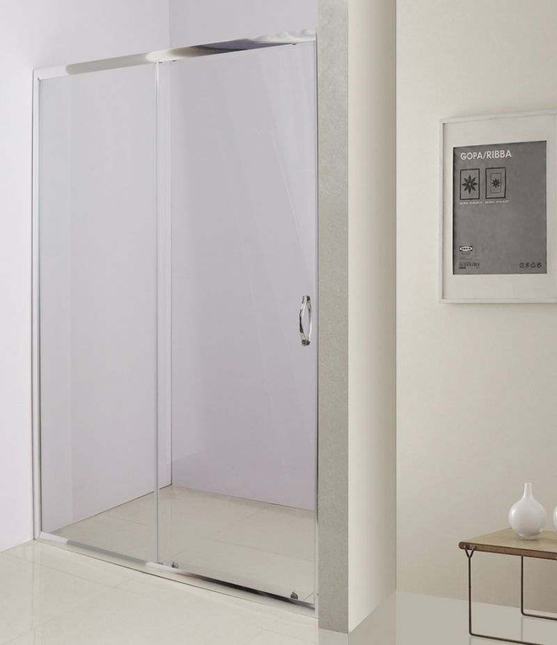 Nicchia doccia porta 100 cm scorrevole in cristallo trasparente 4 mm profili alluminio cromato