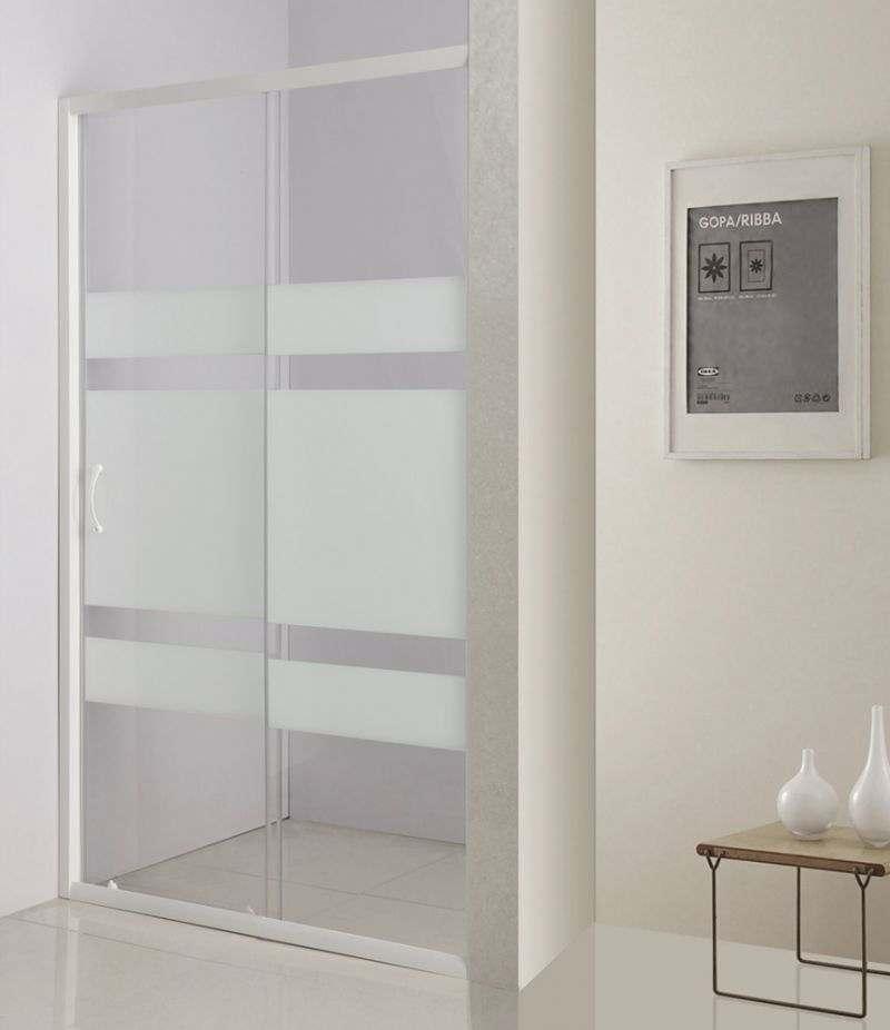 Nicchia doccia porta 110 cm scorrevole in cristallo serigrafato 4 mm profili bianchi