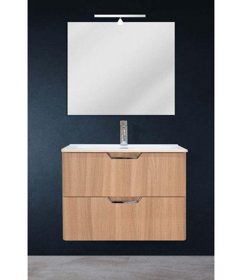 Mobile bagno sospeso 70 cm Rovere Naturale con doppio cassetto, specchio, LED e lavabo