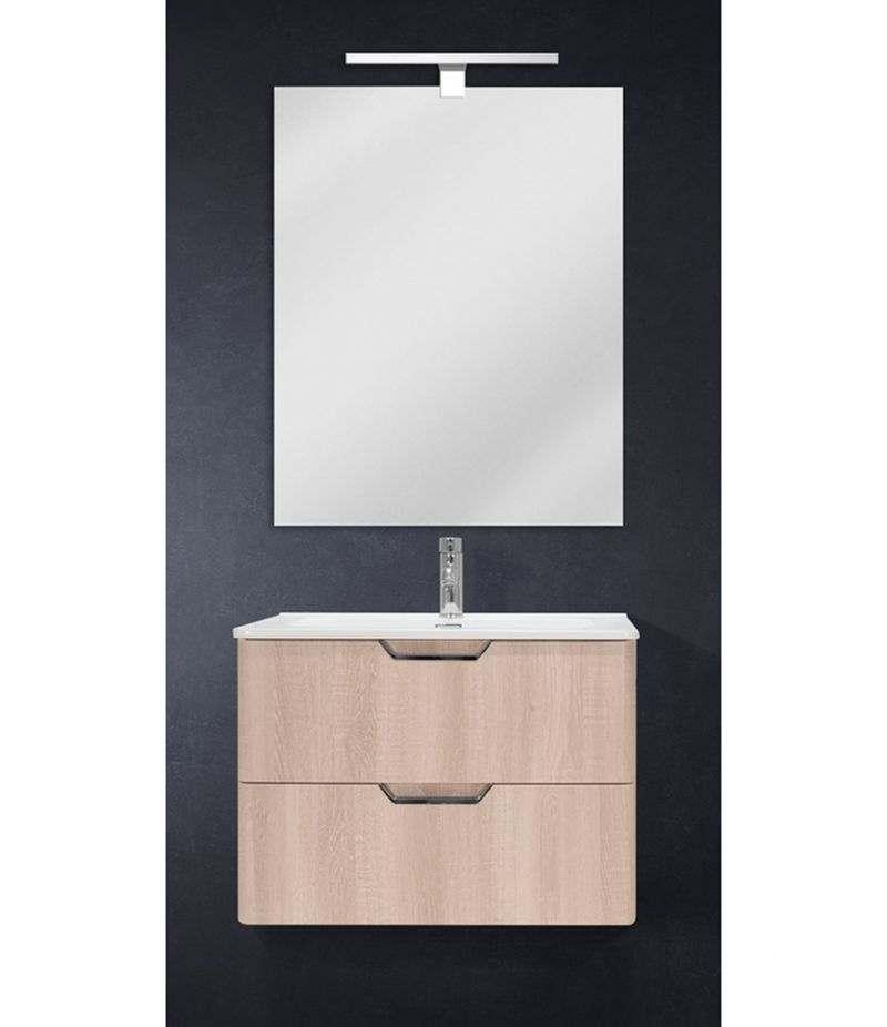 Mobile bagno sospeso 70 cm Rovere Sbiancato con doppio cassetto, specchio, LED e lavabo